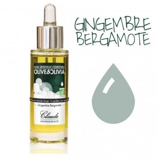 Huile sensuelle bio Comestible - Gingembre Bergamote - 30 ml