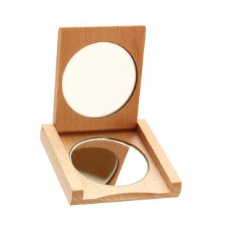 Miroir de poche en bois
