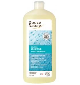 Douche sensitive hypoallergénique à l'eau florale de rose bio - 1 litre
