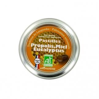 Pastilles Propolis, Miel, Eucalyptus bio Aromandise