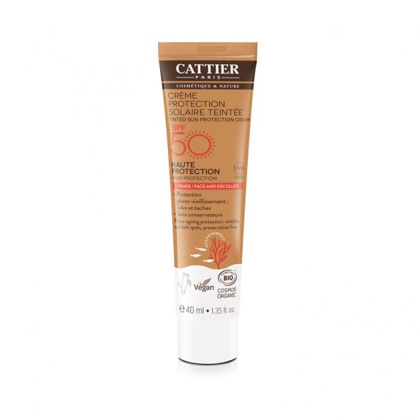 Crème solaire bio visage teintée Cattier