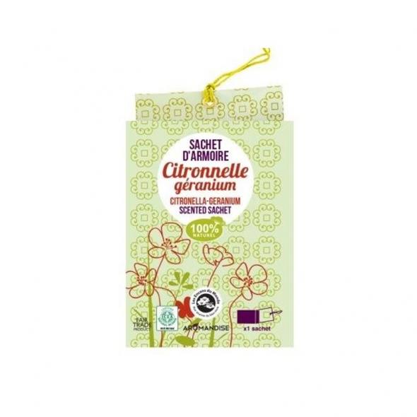 Sachet d'armoire Citronnelle Géranium Encens du monde Aromandise