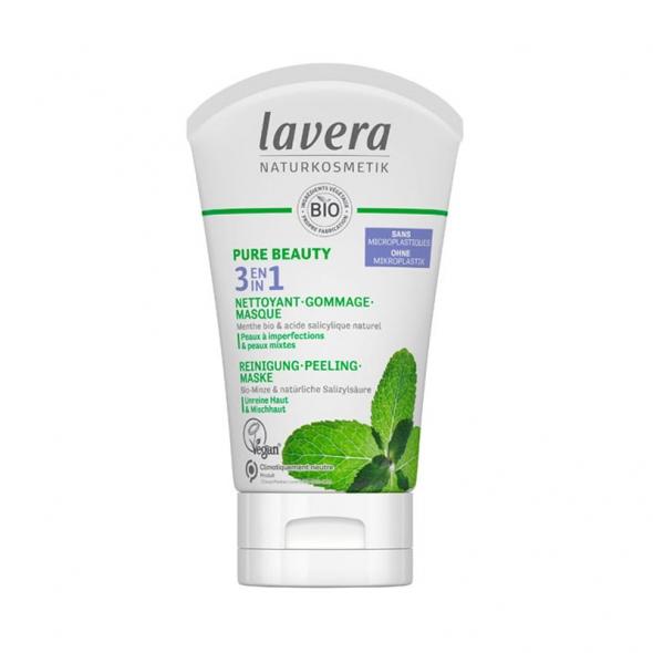 Soin 3en1 bio Nettoyant, gommage, masque Lavera