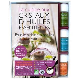 Livre coffret cristaux huiles essentielles pour la cuisine