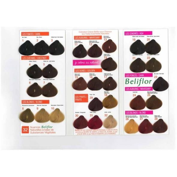 Nuancier coloration crème pour cheveux - Beliflor
