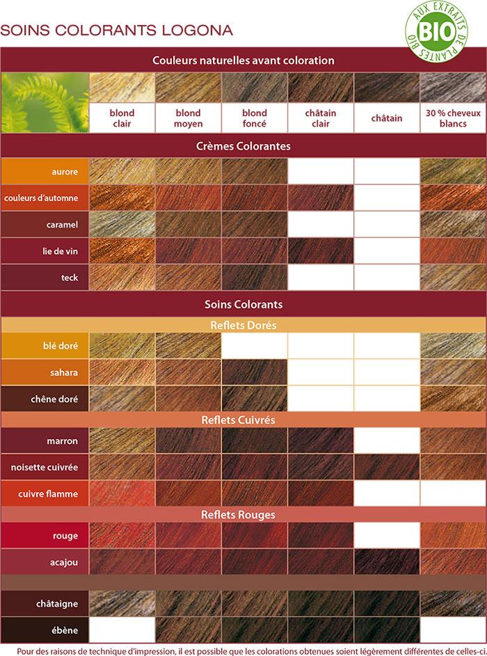 Couleur cheveux roux palette