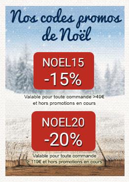 -15% avec NOEL15 et -20% avec NOEL20