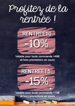 -10% avec RENTREE10 et -15% avec RENTREE15