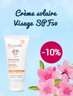 -10% sur la crème solaire visage SPF50 Acorelle